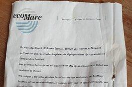 Bijna 23 jaar oude brief van Ecomare aangespoeld op strand van Terschelling